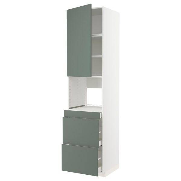 METOD / MAXIMERA Korkea kaappi yhduunille o/3 lt, valkoinen/Bodarp harmaanvihreä, 60x60x240 cm