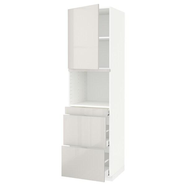METOD / MAXIMERA Korkea kaappi yhduunille o/3 lt, valkoinen/Ringhult vaaleanharmaa, 60x60x220 cm