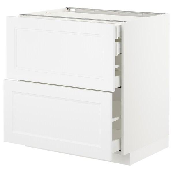 METOD / MAXIMERA Pöytäkaap 2 esrj/2 ma/1 ke/1 ko lt, valkoinen/Axstad matta valkoinen, 80x60 cm