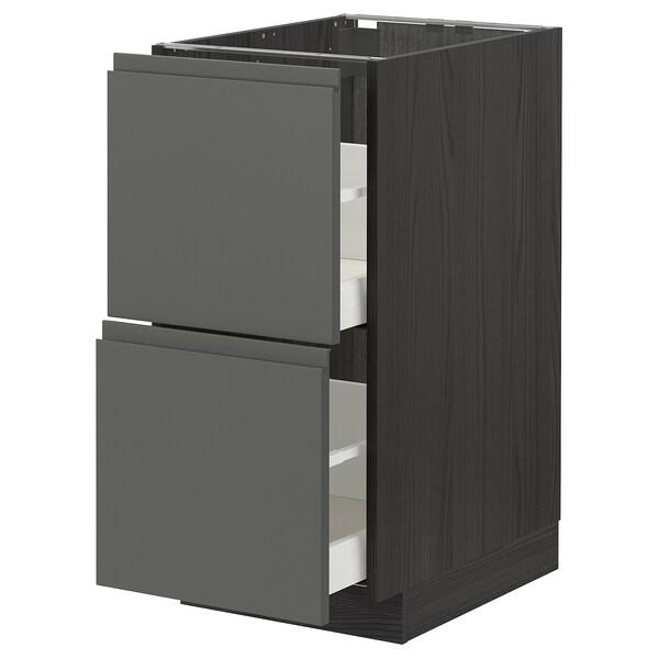 METOD / MAXIMERA Pöytäkaappi 2 etusrj/2 ko laatikkoa, musta/Voxtorp tummanharmaa, 40x60 cm