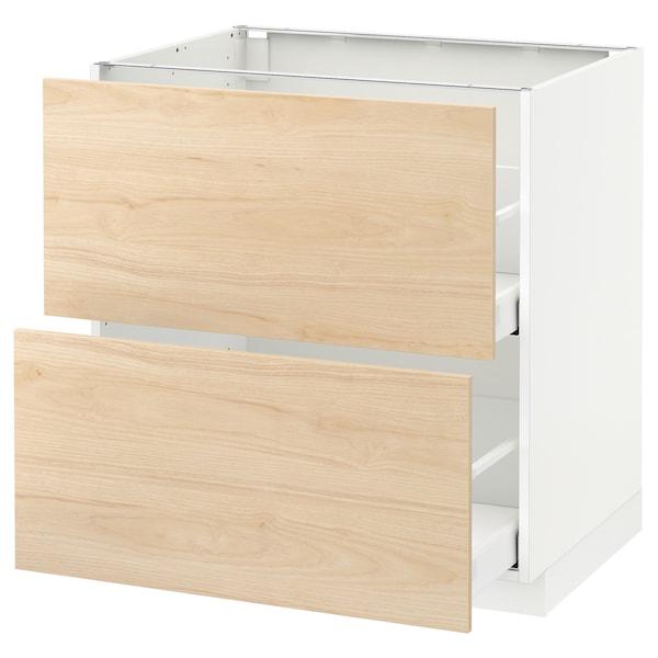 METOD / MAXIMERA Pöytäkaappi 2 etusrj/2 ko laatikkoa, valkoinen/Askersund vaalea saarnikuvio, 80x60 cm