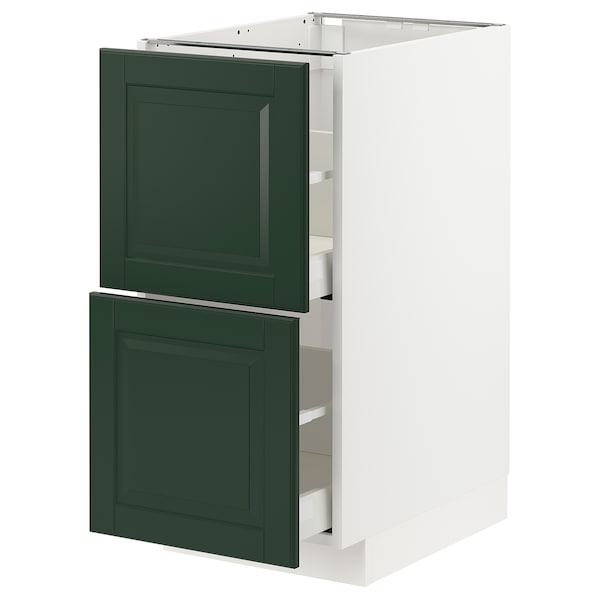 METOD / MAXIMERA Pöytäkaappi 2 etusrj/2 ko laatikkoa, valkoinen/Bodbyn tummanvihreä, 40x60 cm