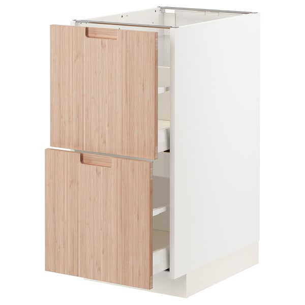 METOD / MAXIMERA Pöytäkaappi 2 etusrj/2 ko laatikkoa, valkoinen/Fröjered vaalea bambu, 40x60 cm