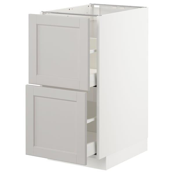 METOD / MAXIMERA Pöytäkaappi 2 etusrj/2 ko laatikkoa, valkoinen/Lerhyttan vaaleanharmaa, 40x60 cm