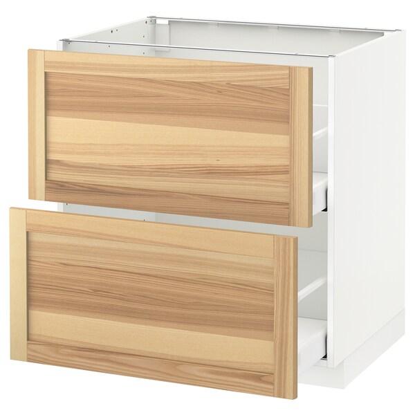 METOD / MAXIMERA Pöytäkaappi 2 etusrj/2 ko laatikkoa, valkoinen/Torhamn saarni, 80x60 cm