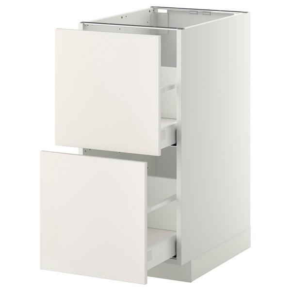 METOD / MAXIMERA Pöytäkaappi 2 etusrj/2 ko laatikkoa, valkoinen/Veddinge valkoinen, 40x60 cm