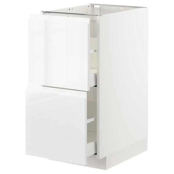 METOD / MAXIMERA Pöytäkaappi 2 etusrj/2 ko laatikkoa, valkoinen/Voxtorp korkeakiilto/valkoinen, 40x60 cm