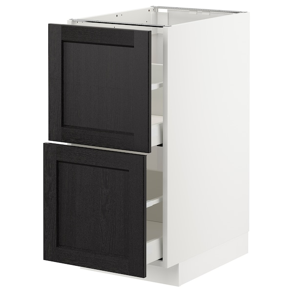 METOD / MAXIMERA Pöytäkaappi 2 etusrj/2 laatikkoa, valkoinen/Lerhyttan mustaksi petsattu, 40x60 cm