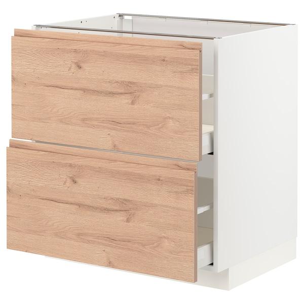 METOD / MAXIMERA Pöytäkaappi 2 etusrj/2 laatikkoa, valkoinen/Voxtorp tammikuvio, 80x60 cm