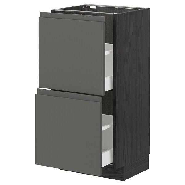METOD / MAXIMERA Pöytäkaappi + 2 laatikkoa, musta/Voxtorp tummanharmaa, 40x37 cm