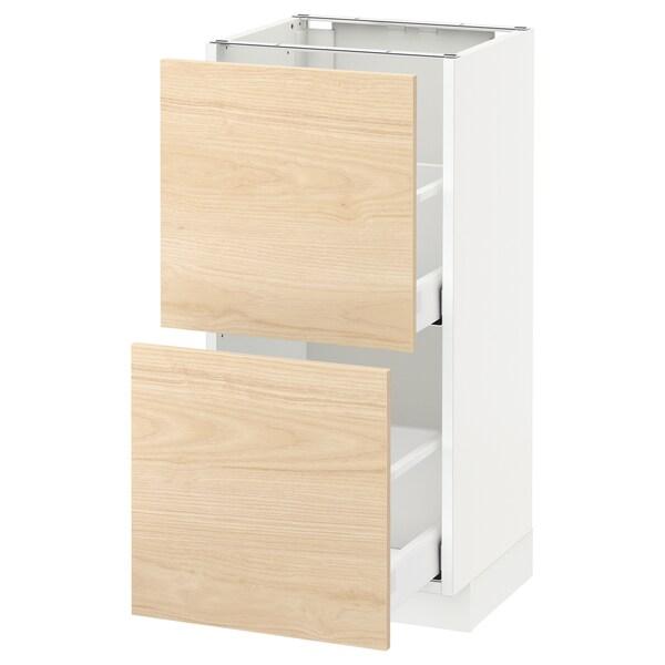 METOD / MAXIMERA Pöytäkaappi + 2 laatikkoa, valkoinen/Askersund vaalea saarnikuvio, 40x37 cm