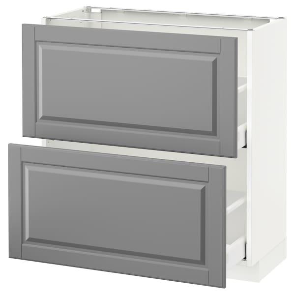METOD / MAXIMERA Pöytäkaappi + 2 laatikkoa, valkoinen/Bodbyn harmaa, 80x37 cm