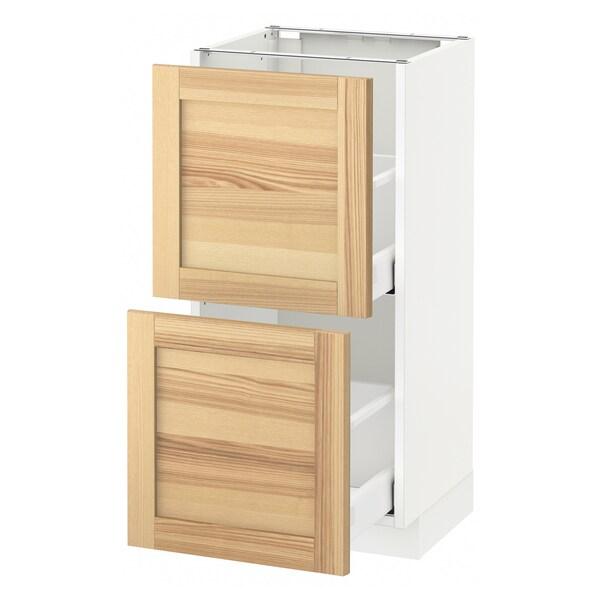 METOD / MAXIMERA Pöytäkaappi + 2 laatikkoa, valkoinen/Torhamn saarni, 40x37 cm