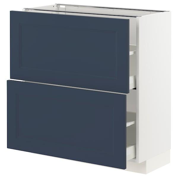 METOD / MAXIMERA Pöytäkaappi 2 laatikolla, valkoinen Axstad/matta sininen, 80x37 cm