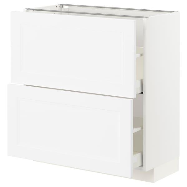 METOD / MAXIMERA Pöytäkaappi 2 laatikolla, valkoinen/Axstad matta valkoinen, 80x37 cm