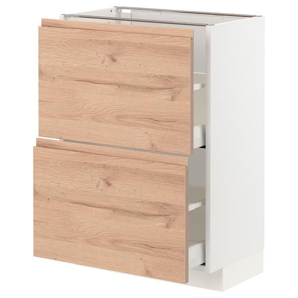 METOD / MAXIMERA Pöytäkaappi 2 laatikolla, valkoinen/Voxtorp tammikuvio, 60x37 cm