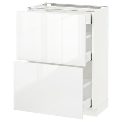 METOD / MAXIMERA Pöytäkaappi 2esrj/3laat, valkoinen/Ringhult valkoinen, 60x37 cm