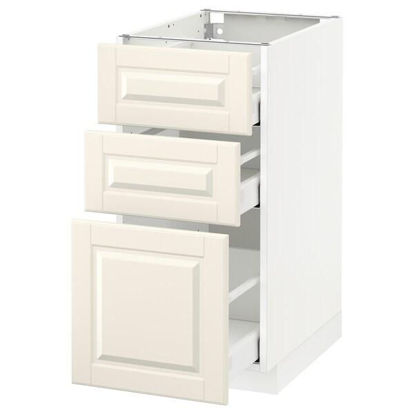 METOD / MAXIMERA Pöytäkaappi + 3 laatikkoa, valkoinen/Bodbyn luonnonvalkoinen, 40x60 cm