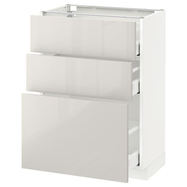 METOD / MAXIMERA Pöytäkaappi + 3 laatikkoa, valkoinen/Ringhult vaaleanharmaa, 60x37 cm