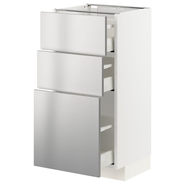 METOD / MAXIMERA Pöytäkaappi + 3 laatikkoa, valkoinen/Vårsta ruostumaton teräs, 40x37 cm
