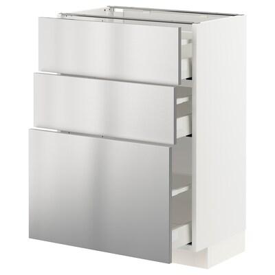 METOD / MAXIMERA Pöytäkaappi + 3 laatikkoa, valkoinen/Vårsta ruostumaton teräs, 60x37 cm