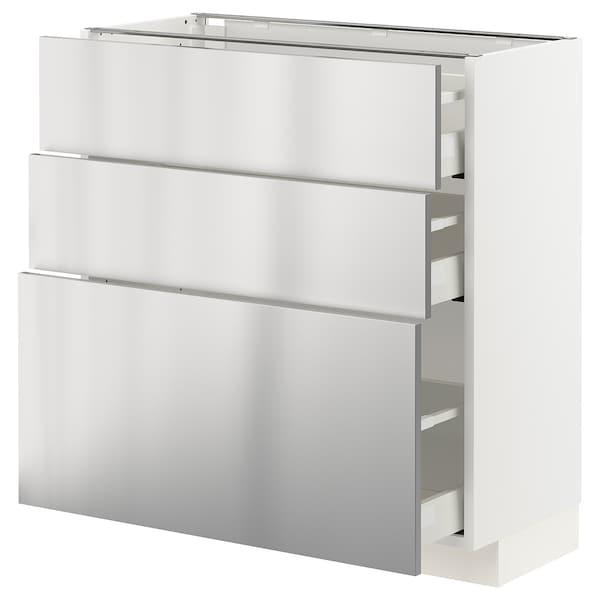 METOD / MAXIMERA Pöytäkaappi + 3 laatikkoa, valkoinen/Vårsta ruostumaton teräs, 80x37 cm