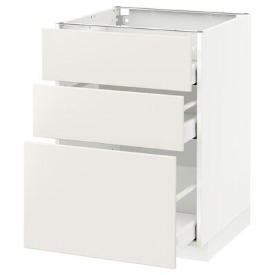 METOD / MAXIMERA Pöytäkaappi + 3 laatikkoa, valkoinen/Veddinge valkoinen, 60x60 cm