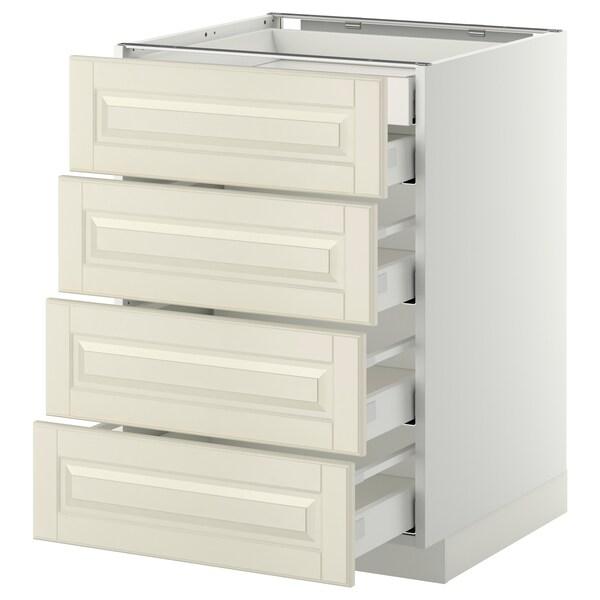 METOD / MAXIMERA Pöytäkaappi 4 etusrj/2 ma/3 ke laat, valkoinen/Bodbyn luonnonvalkoinen, 60x60 cm