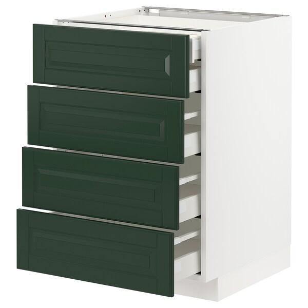 METOD / MAXIMERA Pöytäkaappi 4 etusrj/2 ma/3 ke laat, valkoinen/Bodbyn tummanvihreä, 60x60 cm