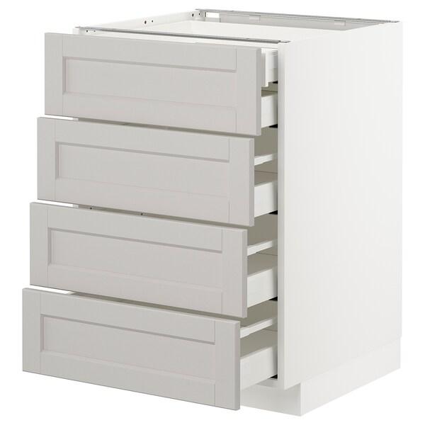 METOD / MAXIMERA Pöytäkaappi 4 etusrj/2 ma/3 ke laat, valkoinen/Lerhyttan vaaleanharmaa, 60x60 cm