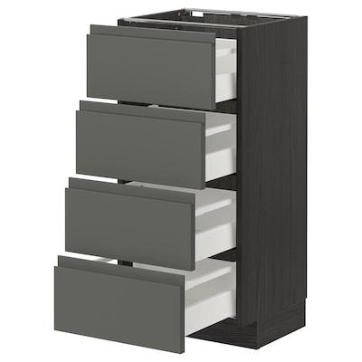 METOD / MAXIMERA Pöytäkaappi 4 etusrj/4 laatikkoa, musta/Voxtorp tummanharmaa, 40x37 cm
