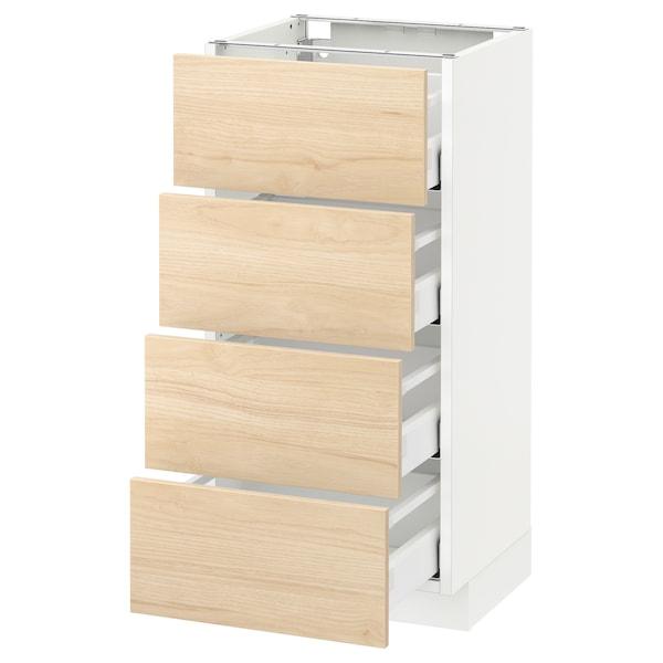 METOD / MAXIMERA Pöytäkaappi 4 etusrj/4 laatikkoa, valkoinen/Askersund vaalea saarnikuvio, 40x37 cm