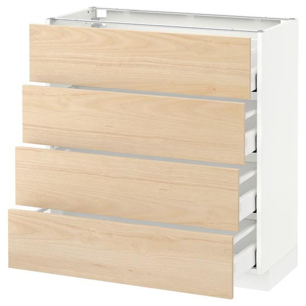 METOD / MAXIMERA Pöytäkaappi 4 etusrj/4 laatikkoa, valkoinen/Askersund vaalea saarnikuvio, 80x37 cm
