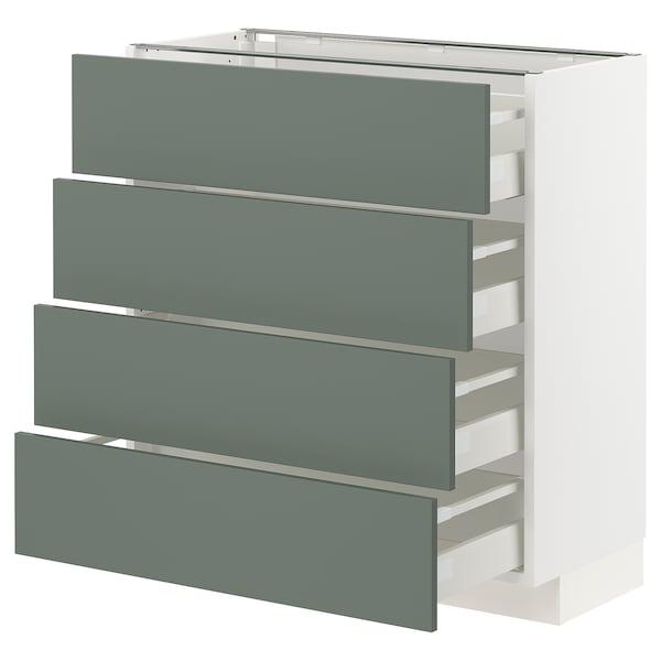 METOD / MAXIMERA Pöytäkaappi 4 etusrj/4 laatikkoa, valkoinen/Bodarp harmaanvihreä, 80x37 cm