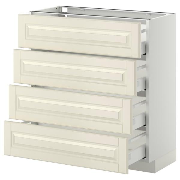 METOD / MAXIMERA Pöytäkaappi 4 etusrj/4 laatikkoa, valkoinen/Bodbyn luonnonvalkoinen, 80x37 cm