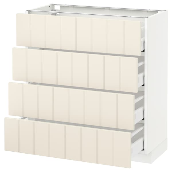 METOD / MAXIMERA Pöytäkaappi 4 etusrj/4 laatikkoa, valkoinen/Hittarp luonnonvalkoinen, 80x37 cm