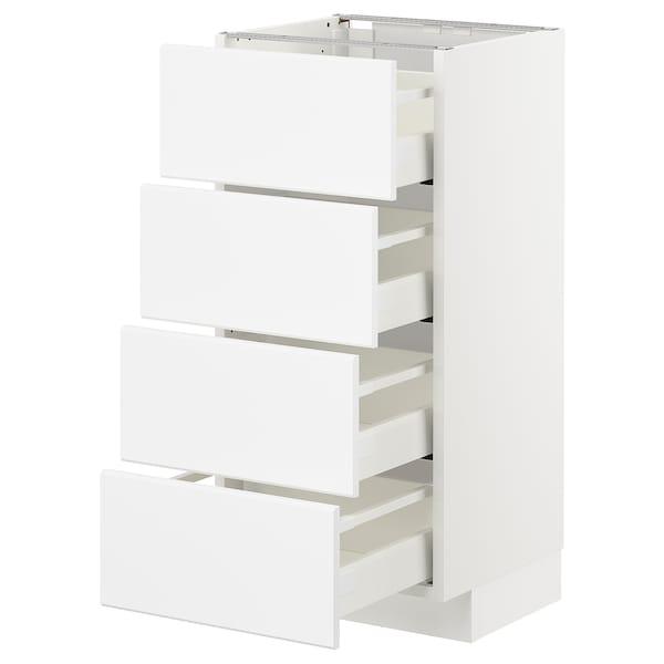 METOD / MAXIMERA Pöytäkaappi 4 etusrj/4 laatikkoa, valkoinen/Kungsbacka matta valkoinen, 40x37 cm