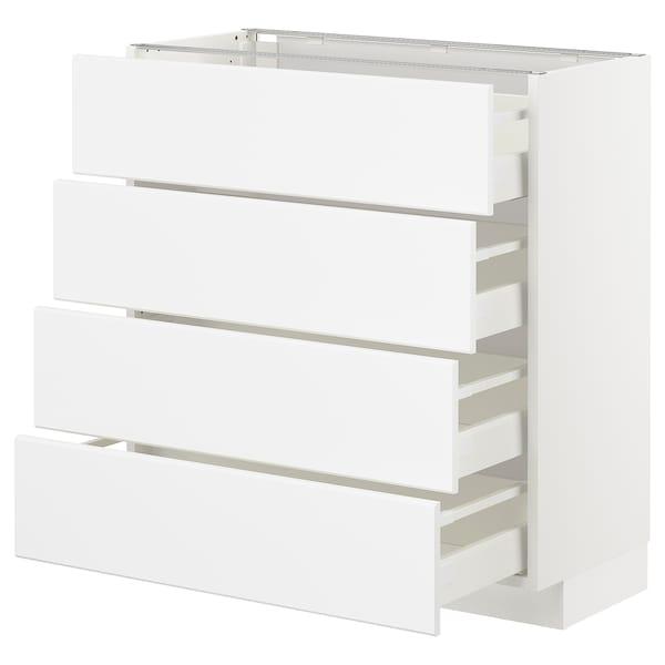 METOD / MAXIMERA Pöytäkaappi 4 etusrj/4 laatikkoa, valkoinen/Kungsbacka matta valkoinen, 80x37 cm