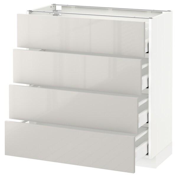METOD / MAXIMERA Pöytäkaappi 4 etusrj/4 laatikkoa, valkoinen/Ringhult vaaleanharmaa, 80x37 cm