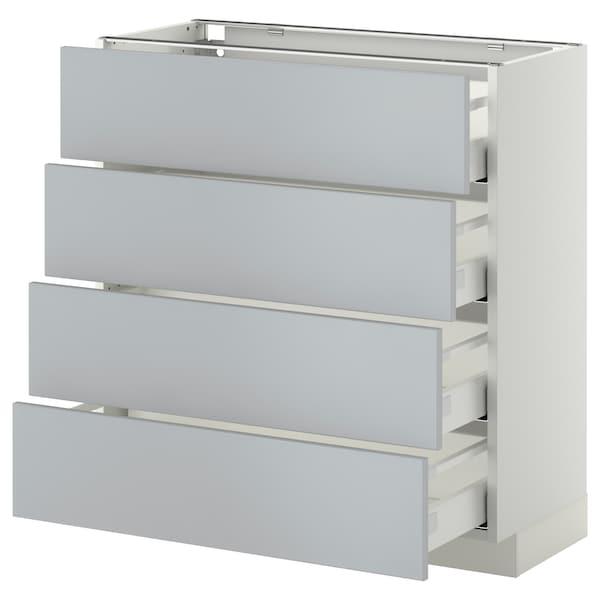 METOD / MAXIMERA Pöytäkaappi 4 etusrj/4 laatikkoa, valkoinen/Veddinge harmaa, 80x37 cm