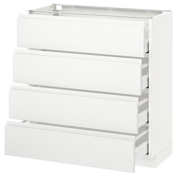 METOD / MAXIMERA Pöytäkaappi 4 etusrj/4 laatikkoa, valkoinen/Voxtorp matta valkoinen, 80x37 cm