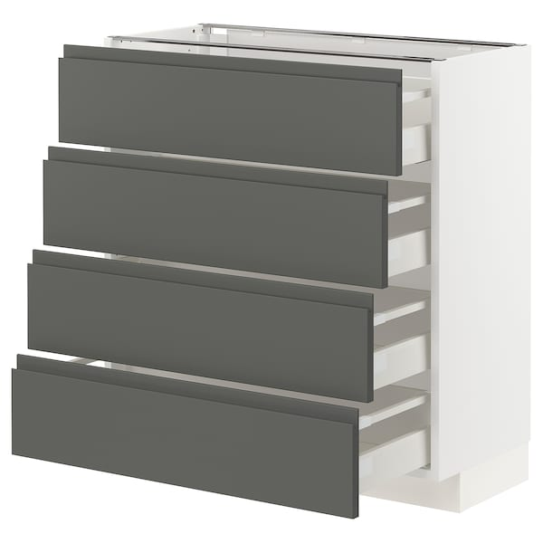 METOD / MAXIMERA Pöytäkaappi 4 etusrj/4 laatikkoa, valkoinen/Voxtorp tummanharmaa, 80x37 cm