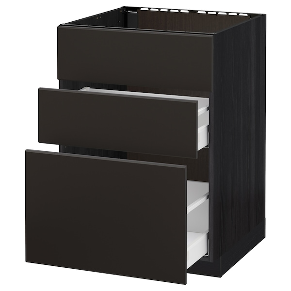 METOD / MAXIMERA Pöytäkaappi altaalle/3 esrj/2 lt, musta/Kungsbacka antrasiitti, 60x60 cm