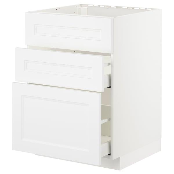 METOD / MAXIMERA Pöytäkaappi altaalle/3 esrj/2 lt, valkoinen/Axstad matta valkoinen, 60x60 cm