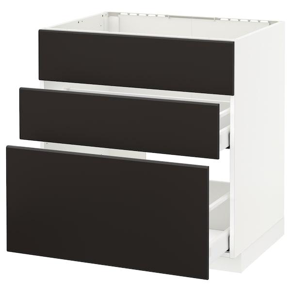 METOD / MAXIMERA Pöytäkaappi altaalle/3 esrj/2 lt, valkoinen/Kungsbacka antrasiitti, 80x60 cm