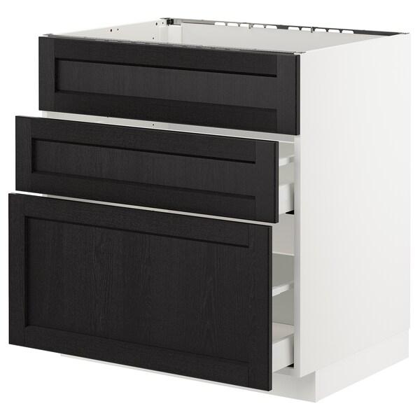 METOD / MAXIMERA Pöytäkaappi altaalle/3 esrj/2 lt, valkoinen/Lerhyttan mustaksi petsattu, 80x60 cm