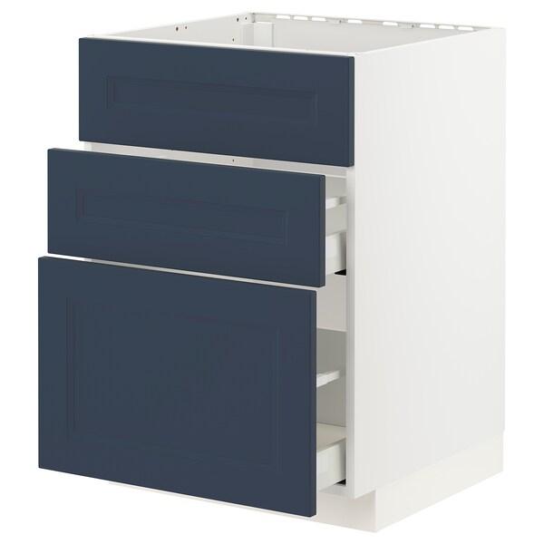 METOD / MAXIMERA Pöytäkaappi altaalle 3 etusrj/2 lt, valkoinen Axstad/matta sininen, 60x60 cm