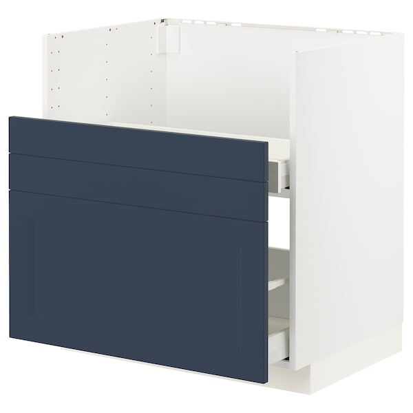 METOD / MAXIMERA Pöytäkaappi BREDSJÖN-al/2 esrj/2 lt, valkoinen Axstad/matta sininen, 80x60 cm