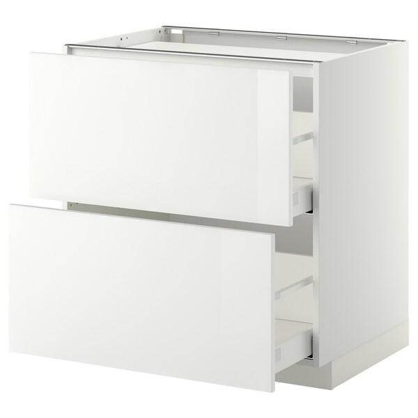 METOD / MAXIMERA Pöytäkaappi keittotas/2 esrj/2 lt, valkoinen/Ringhult valkoinen, 80x60 cm
