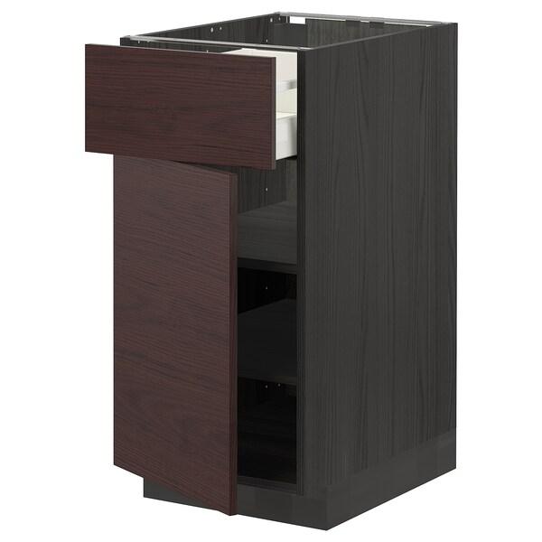 METOD / MAXIMERA Pöytäkaappi + laatikko/ovi, musta Askersund/tummanruskea saarnikuvioitu kalvopinnoite, 40x60 cm